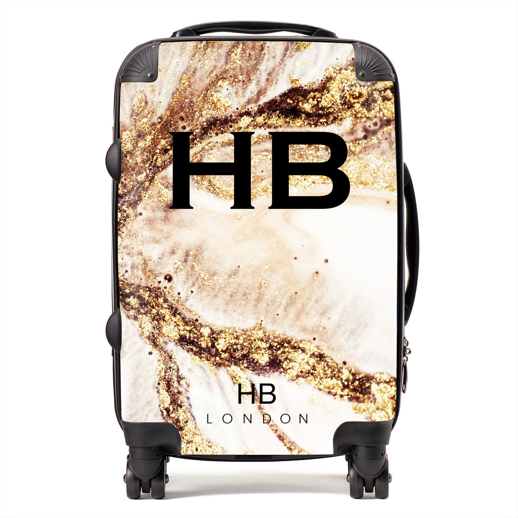 Personalised Golden Cracked Marble with Black Font Initial Suitcase