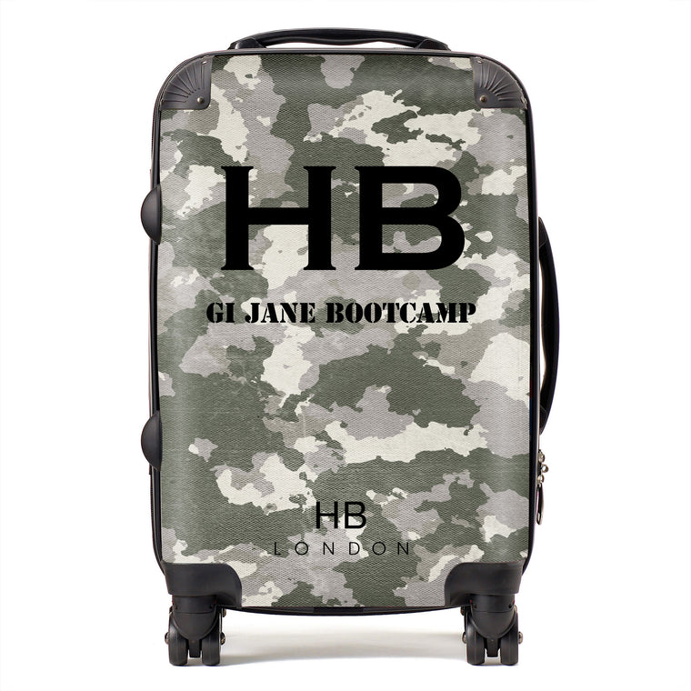 Personalised GI Jane Bootcamp Green Camouflage with Black Font Initial Suitcase