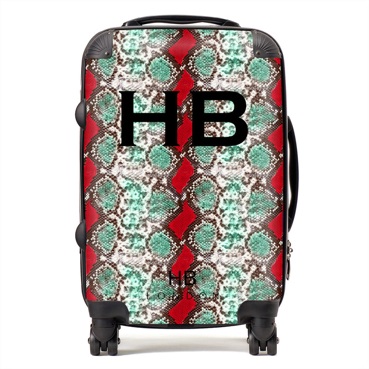 Personalised Green and Red Snake Skin Print with Black Font Initial Suitcase