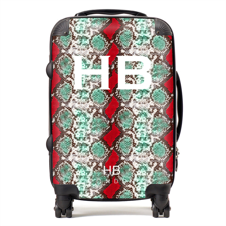 Personalised Green and Red Snake Skin Print with White Font Initial Suitcase