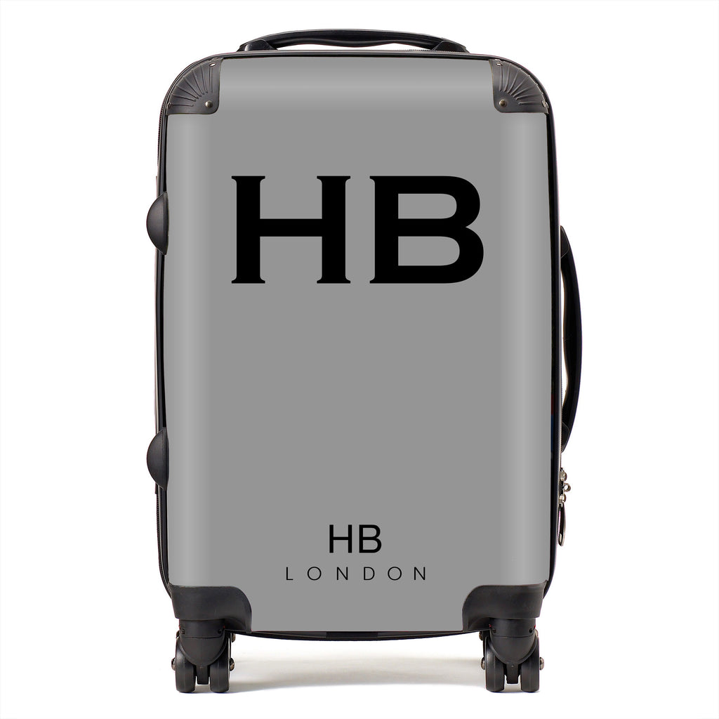 Personalised Grey with Black Font Initial Suitcase