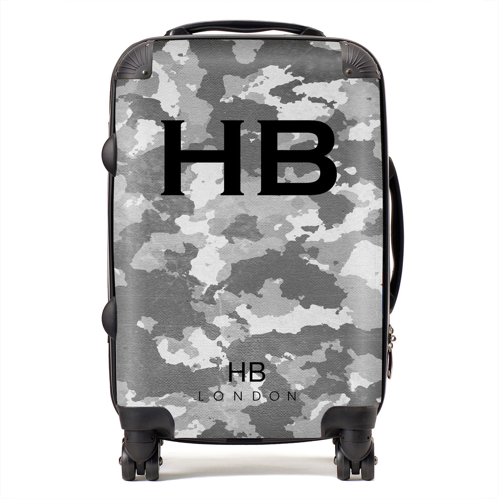 Personalised Grey Camouflage with Black Font Initial Suitcase