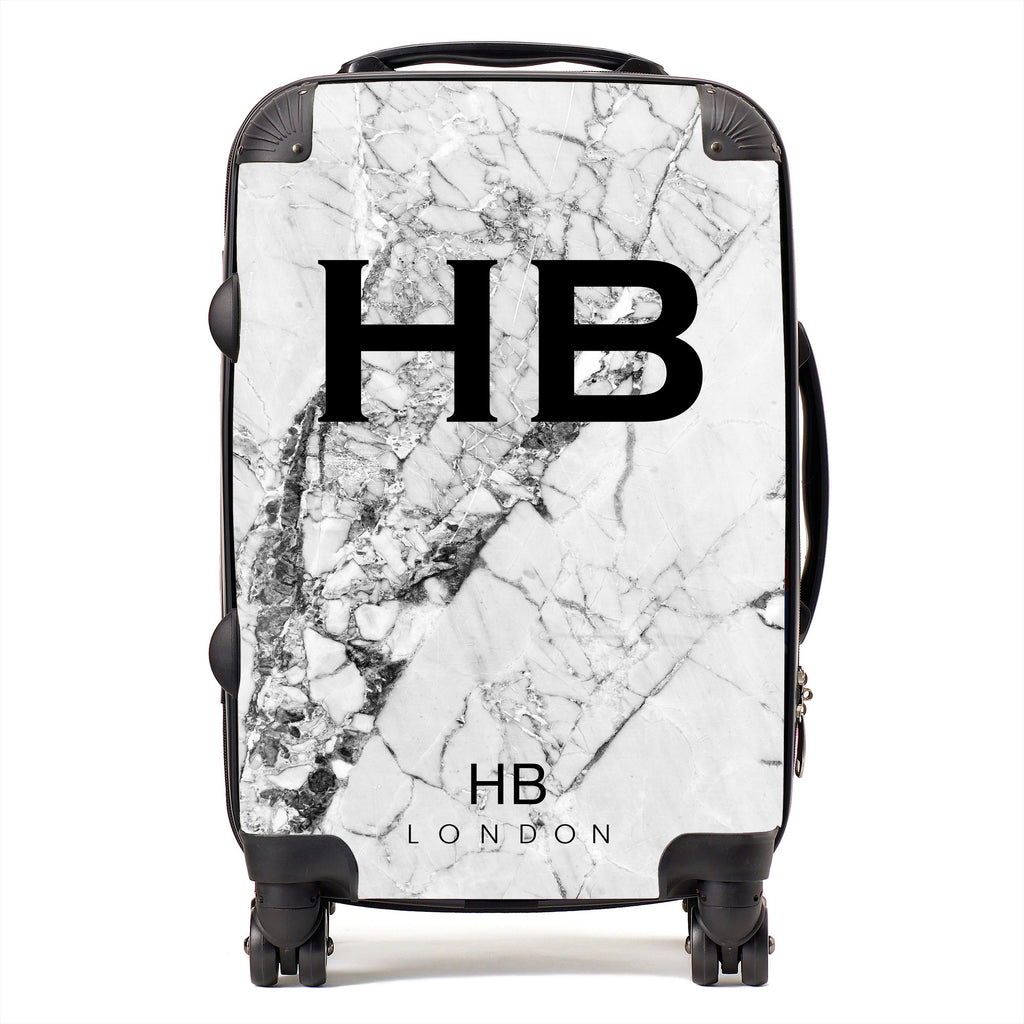 Personalised Monochrome Cracked Marble Initial Suitcase