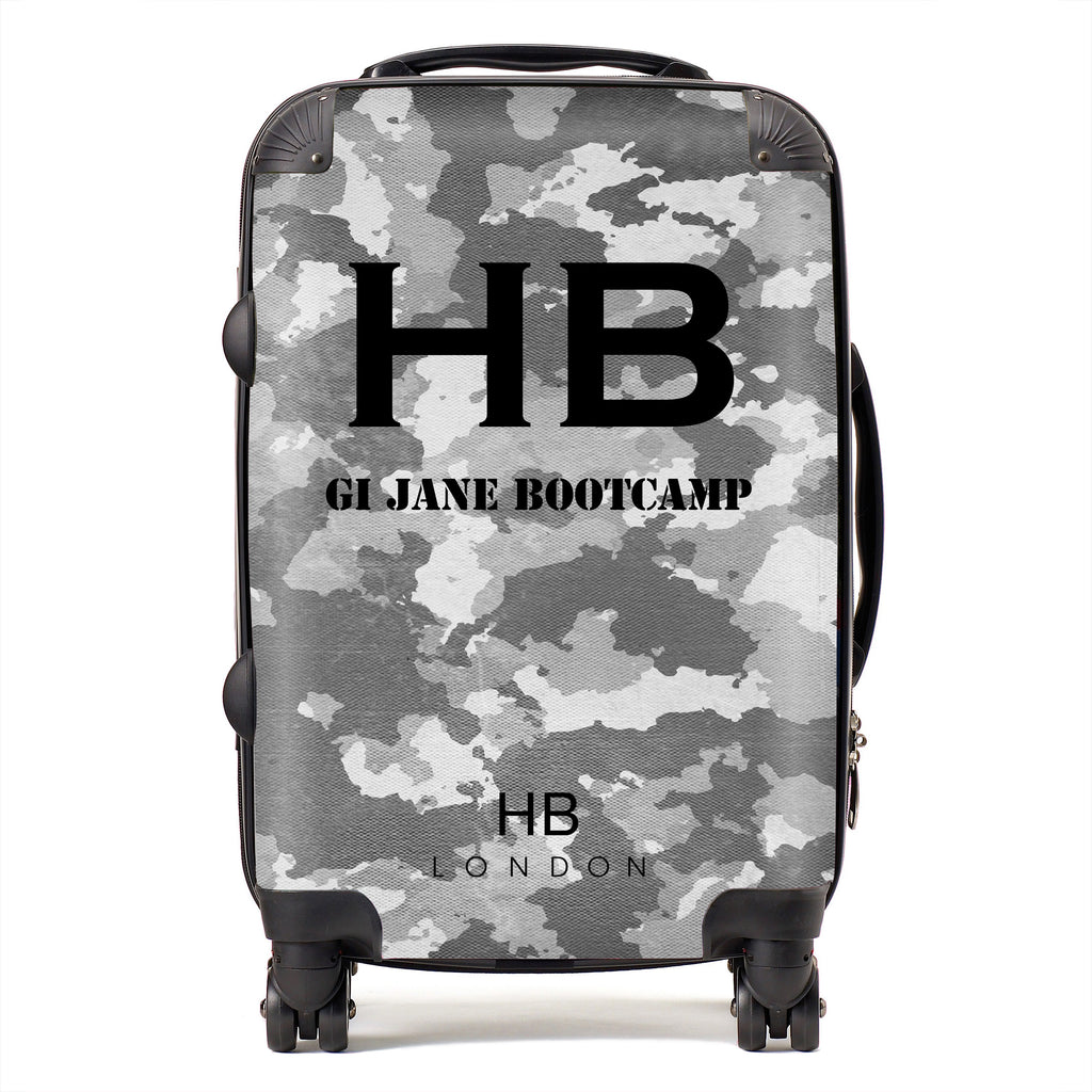 Personalised GI Jane Bootcamp Grey Camouflage with Black Font Initial Suitcase