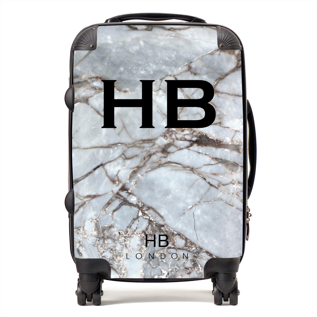 Personalised Silver Grey Shattered Marble Initial Suitcase
