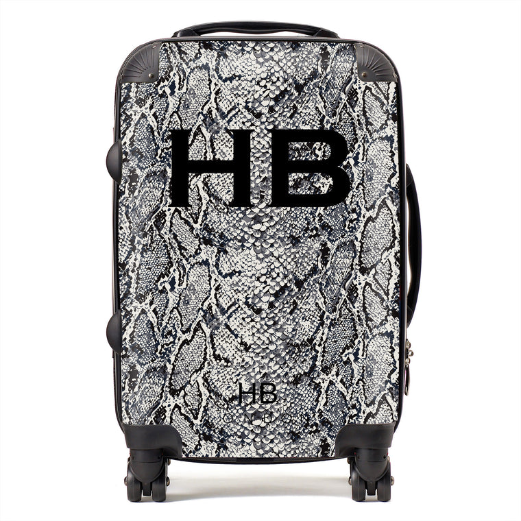 Personalised Grey Snake Skin Print with Black Font Initial Suitcase