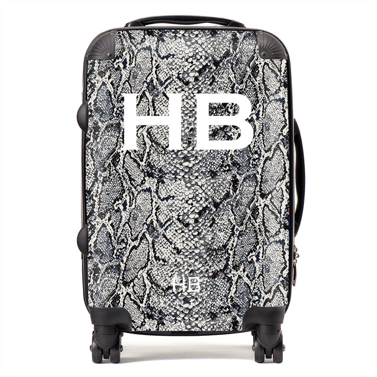 Personalised Grey Snake Skin Print with White Font Initial Suitcase