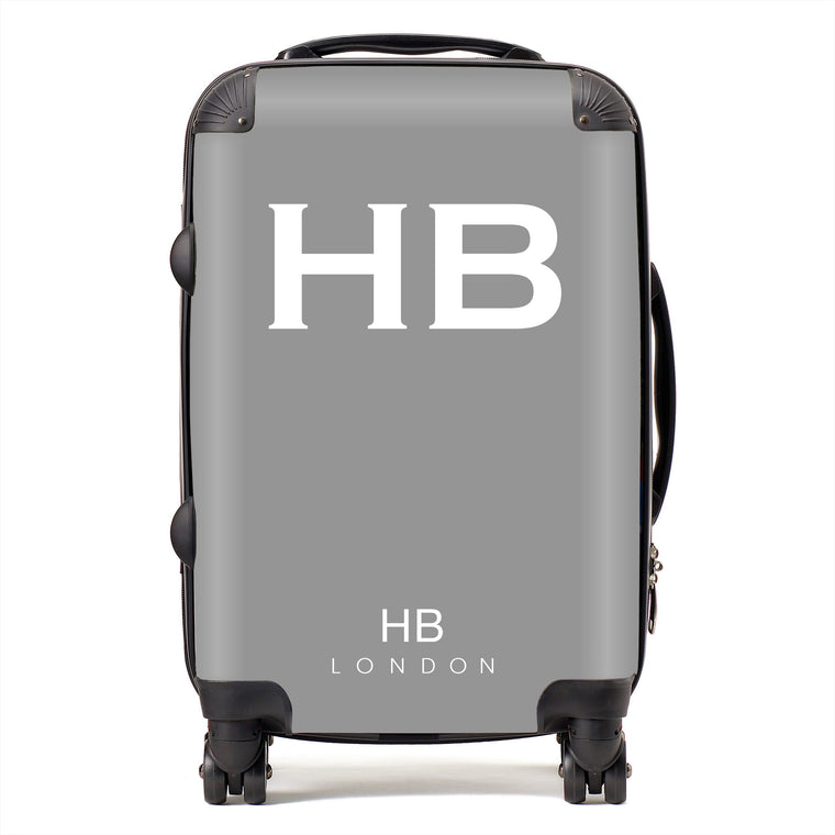 Personalised Grey with White Font Initial Suitcase
