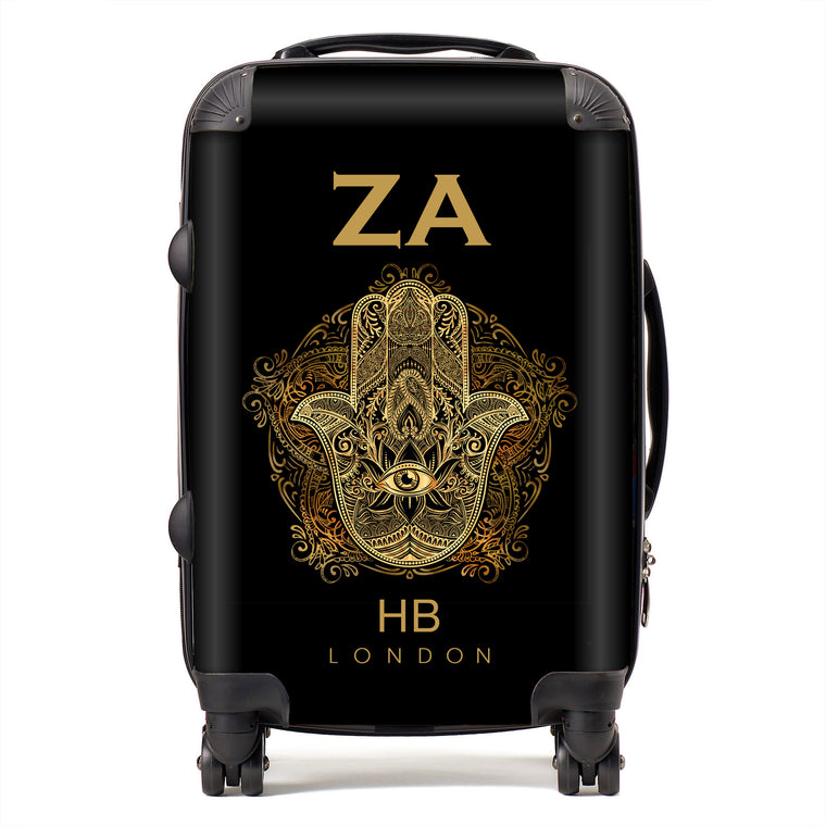 Personalised Hand of Hamza with Gold Font Initial Suitcase