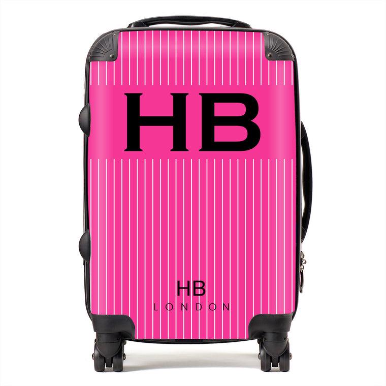 Personalised Hot Pink Pinstripe with Black Font Initial Suitcase