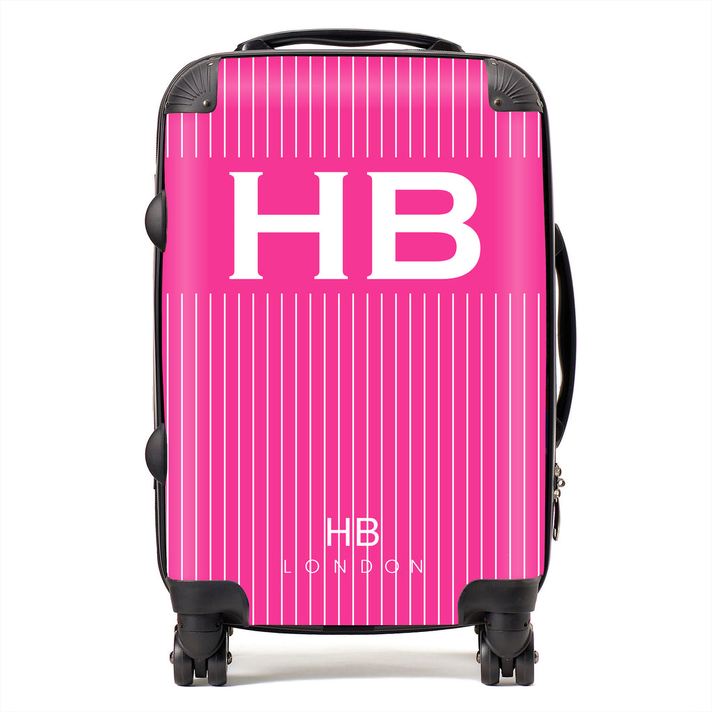 Personalised Hot Pink Pinstripe with White Font Initial Suitcase