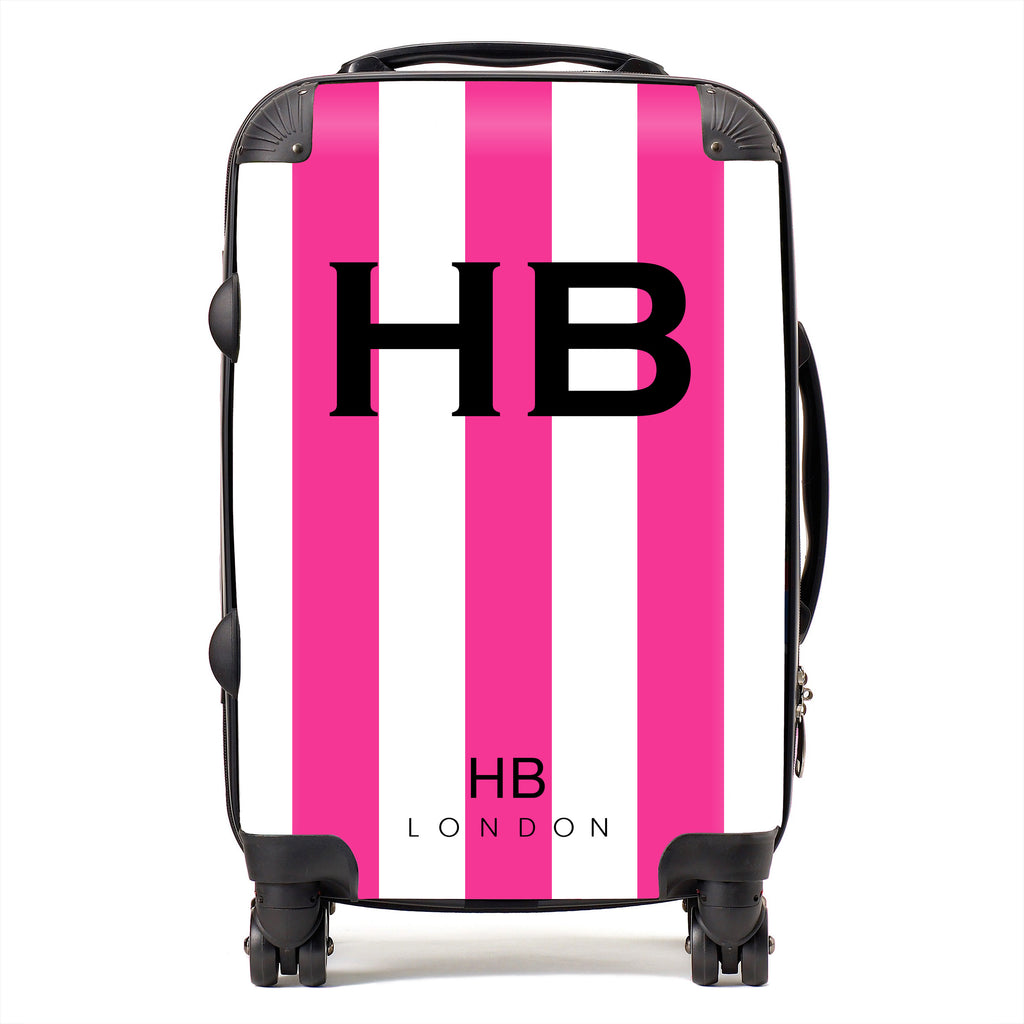 Personalised Hot Pink and White Stripe with Black Font Initial Suitcase