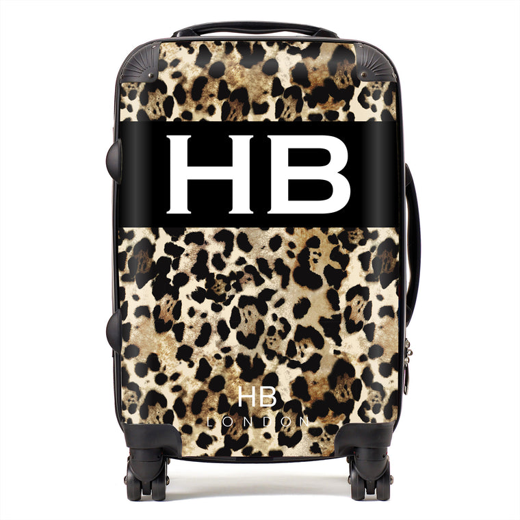Personalised Leopard Print with White Font Initial Suitcase