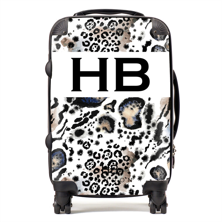 Personalised Snow Leopard and Tiger Print with Black Font Initial Suitcase