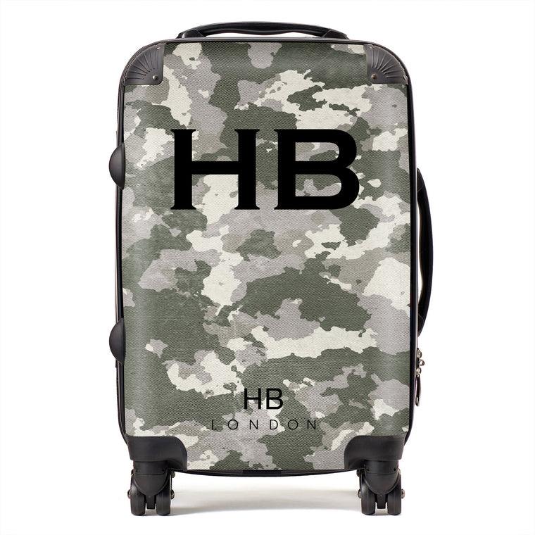 Personalised Green Camouflage with Black Font Initial Suitcase