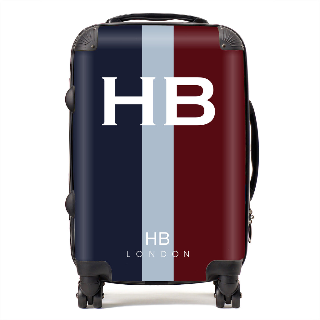 Personalised RAF Regimental Colours with White Font Initial Suitcase