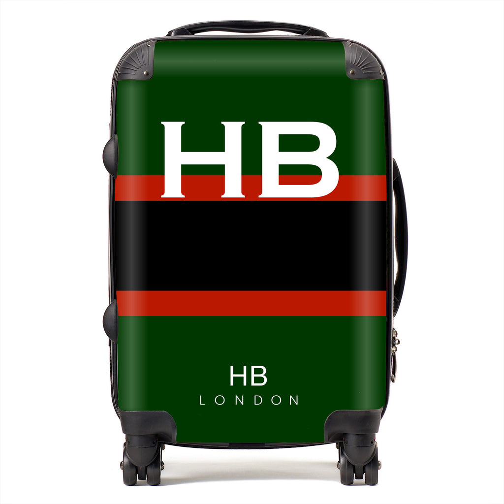 Personalised Rifles Regimental Colours with White Font Initial Suitcase