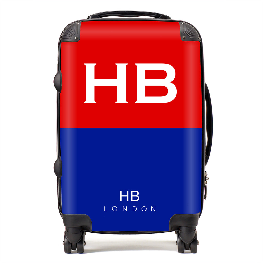 Personalised Royal Artillery Colours with White Font Initial Suitcase
