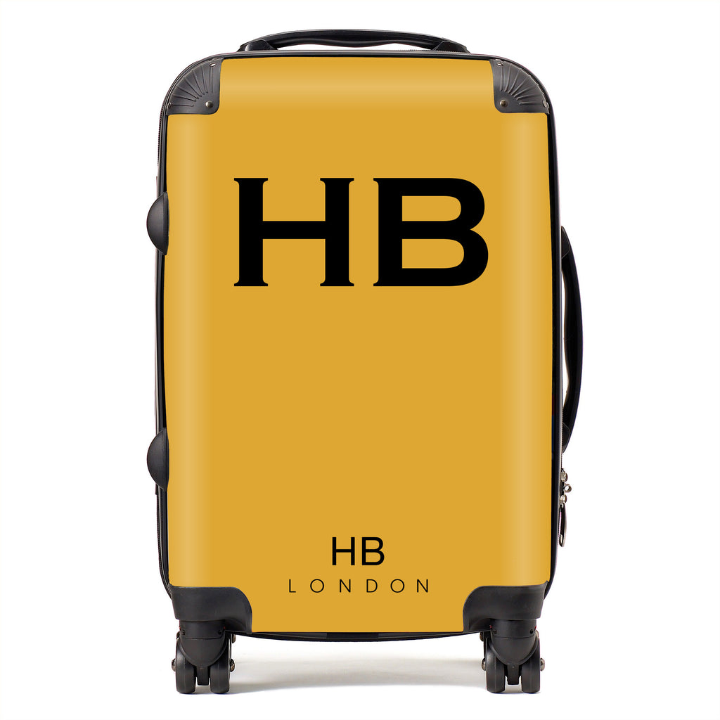 Personalised Mustard with Black Font Initial Suitcase