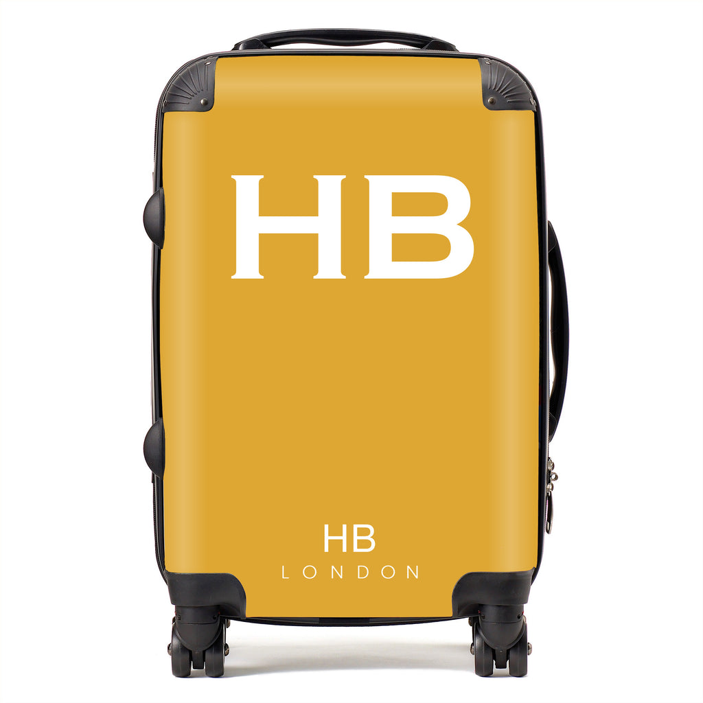 Personalised Mustard with White Font Initial Suitcase