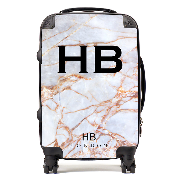 Personalised Natural Shattered Marble Initial Suitcase