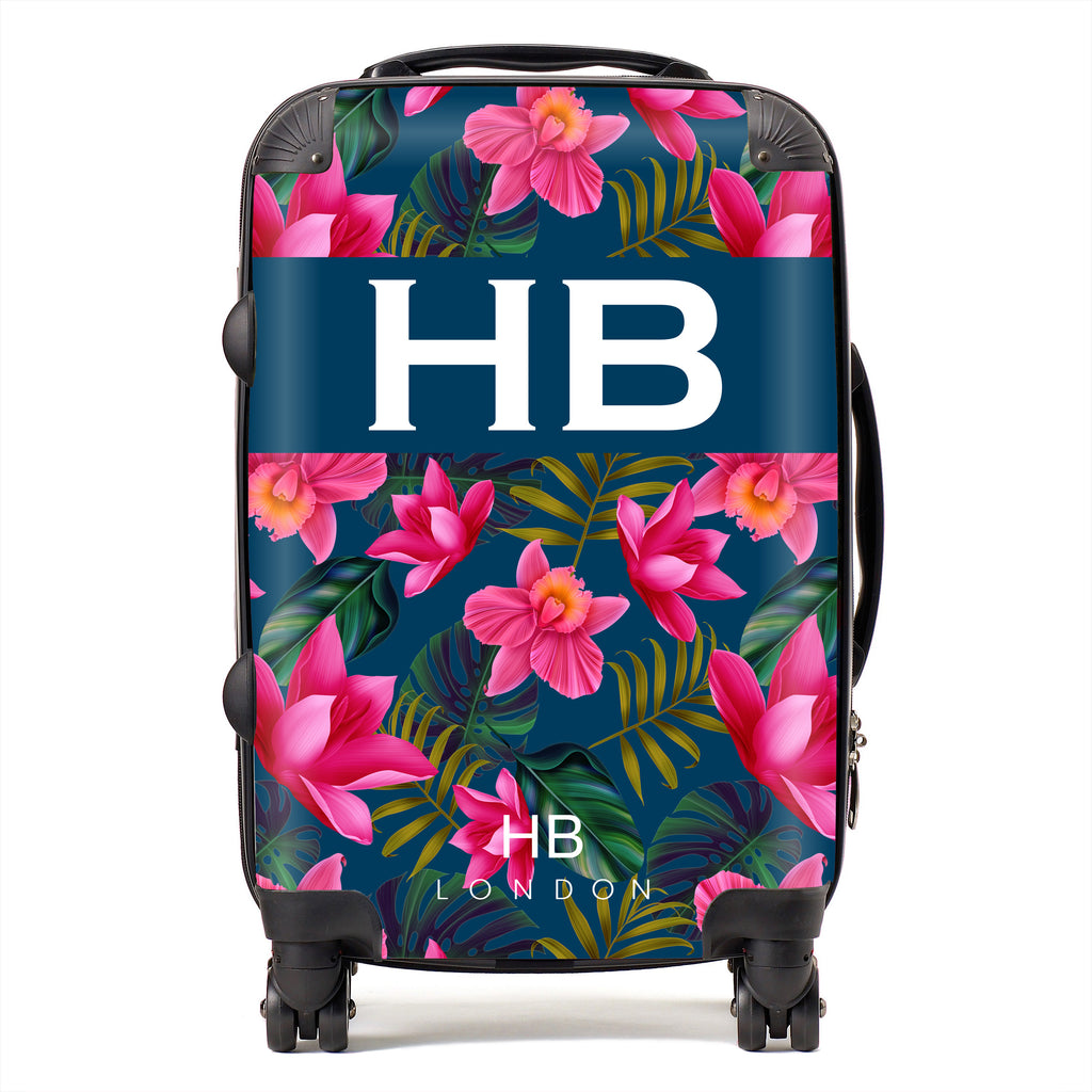 Personalised Navy Blue and Bright Pink Tropical Flowers with White Font Initial Suitcase