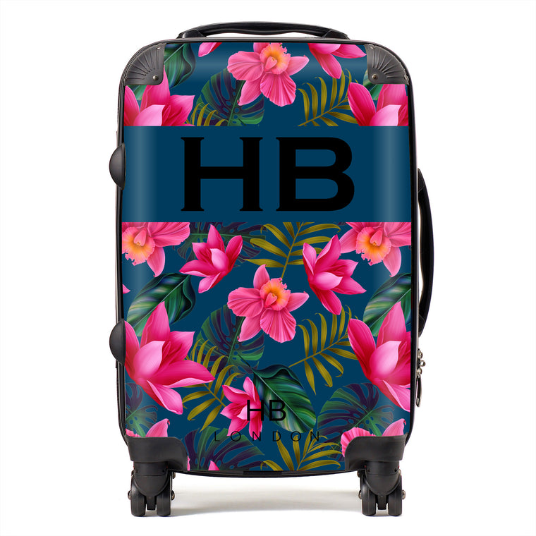 Personalised Navy Blue and Bright Pink Tropical Flowers with Black Font Initial Suitcase