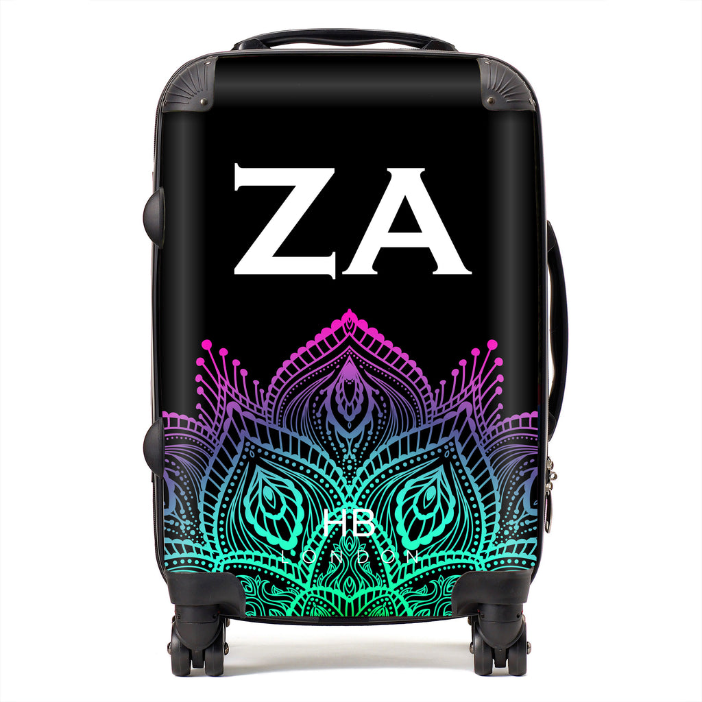 Personalised Neon Henna with White Font Initial Suitcase