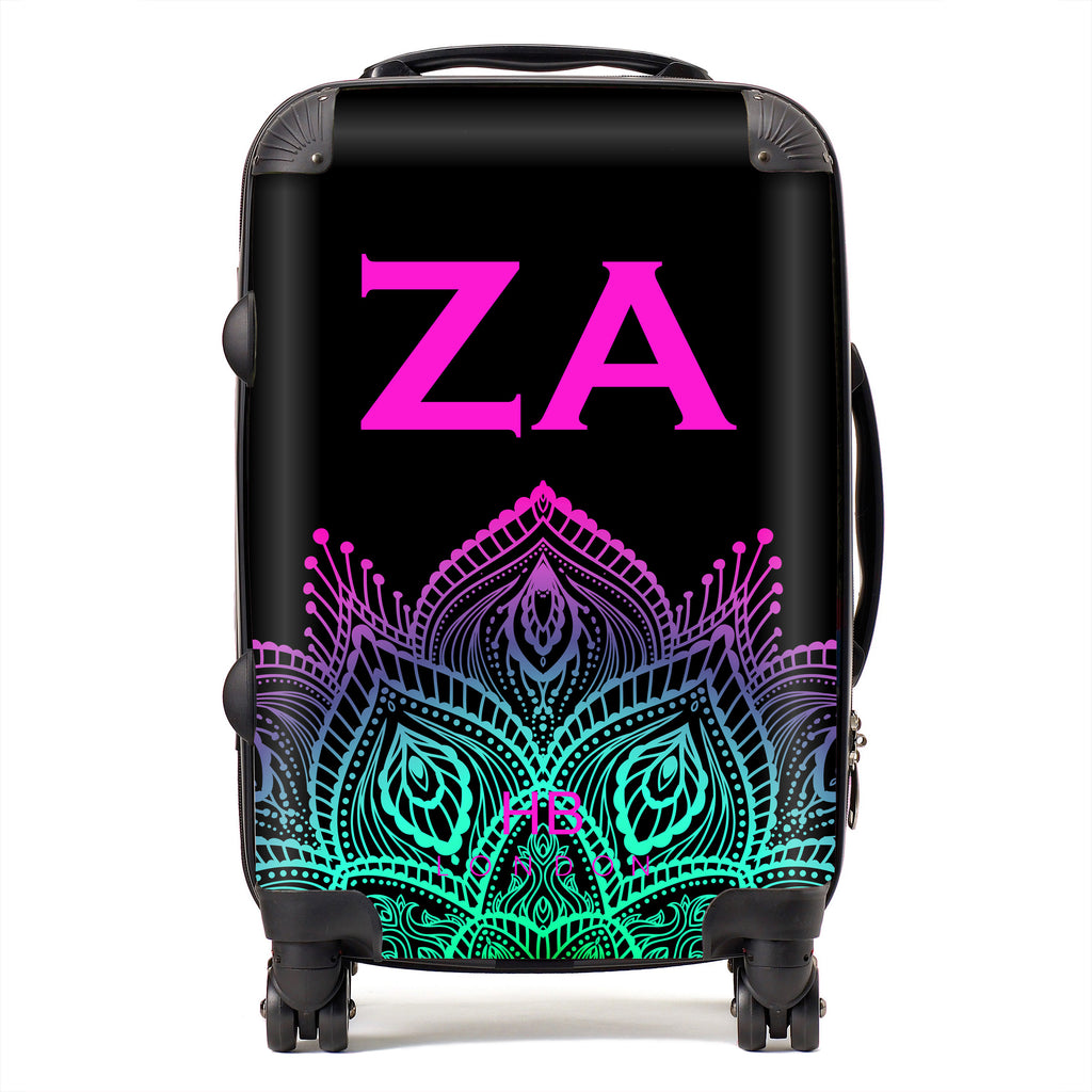 Personalised Neon Henna with Fushia Font Initial Suitcase