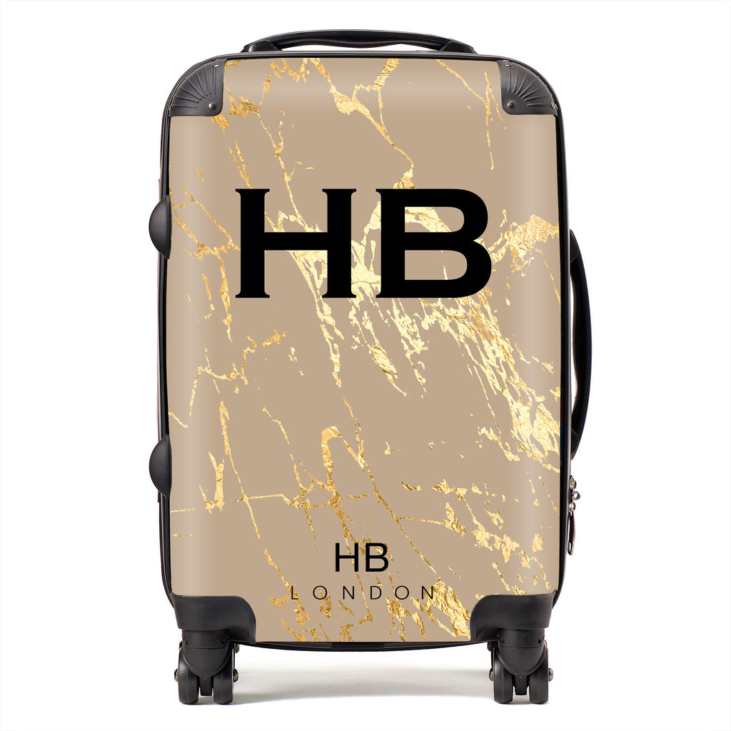 Personalised Nude Gold Marble Initial Suitcase