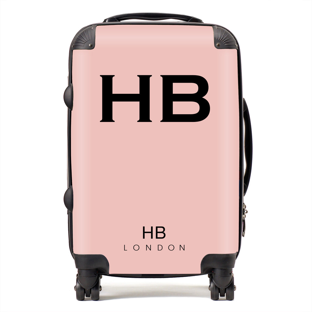 Personalised Nude Pink with Black Font Initial Suitcase