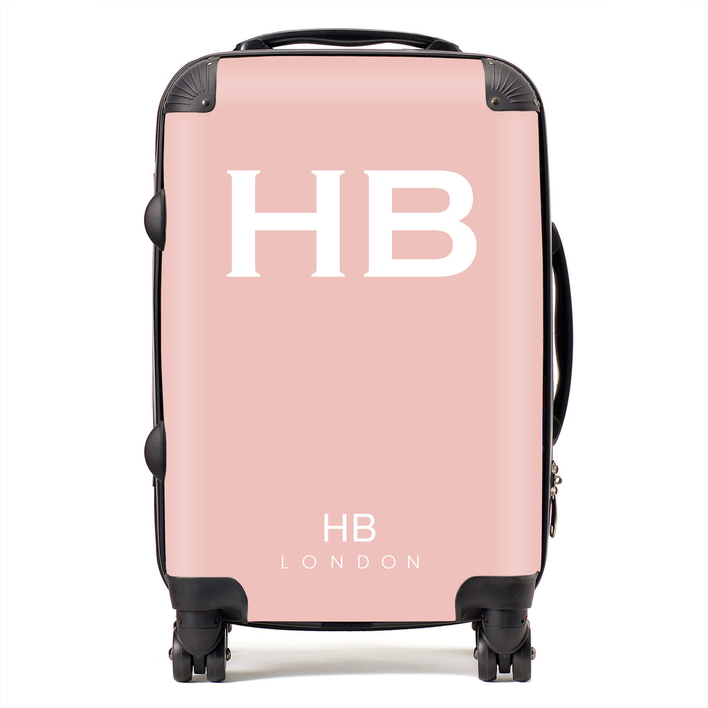 Personalised Nude Pink with White Font Initial Suitcase
