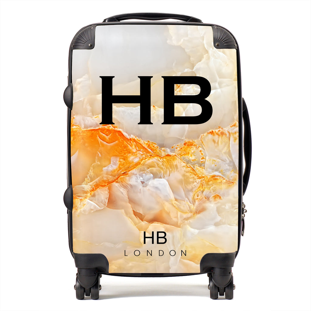 Personalised Orange Onyx Initial Suitcase