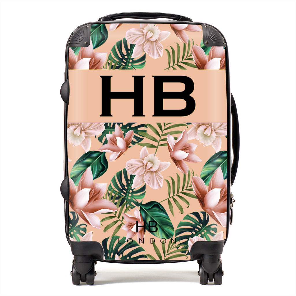 Personalised Peach Tropical Flowers with Black Font Initial Suitcase