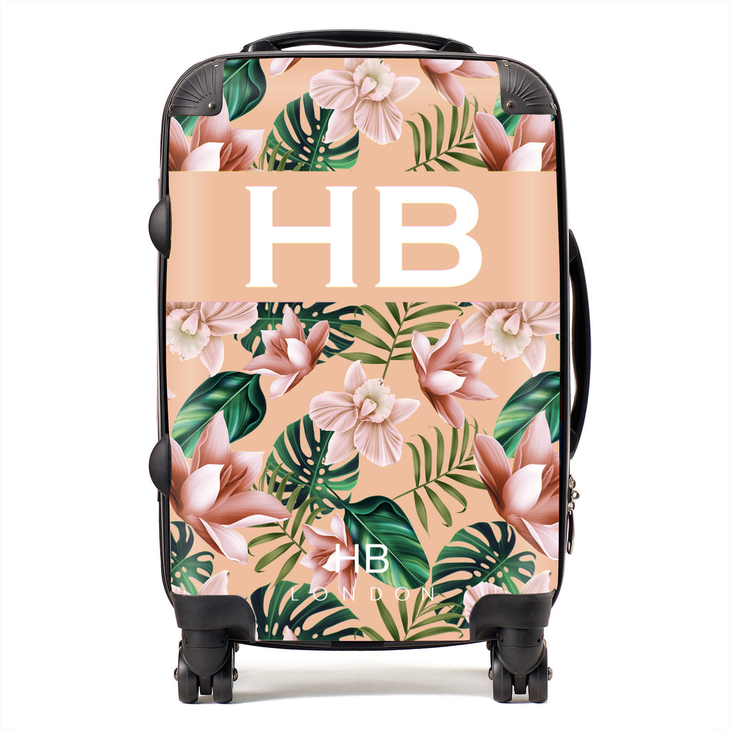 Personalised Peach Tropical Flowers with White Font Initial Suitcase