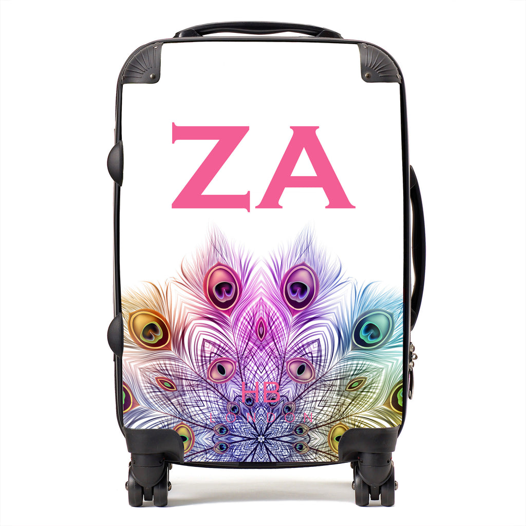 Personalised Peacock Mandala with Pink Font Initial Suitcase