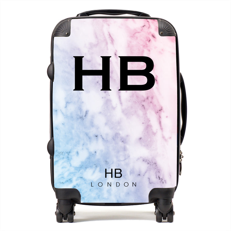 Personalised Pastel Marble Initial Suitcase