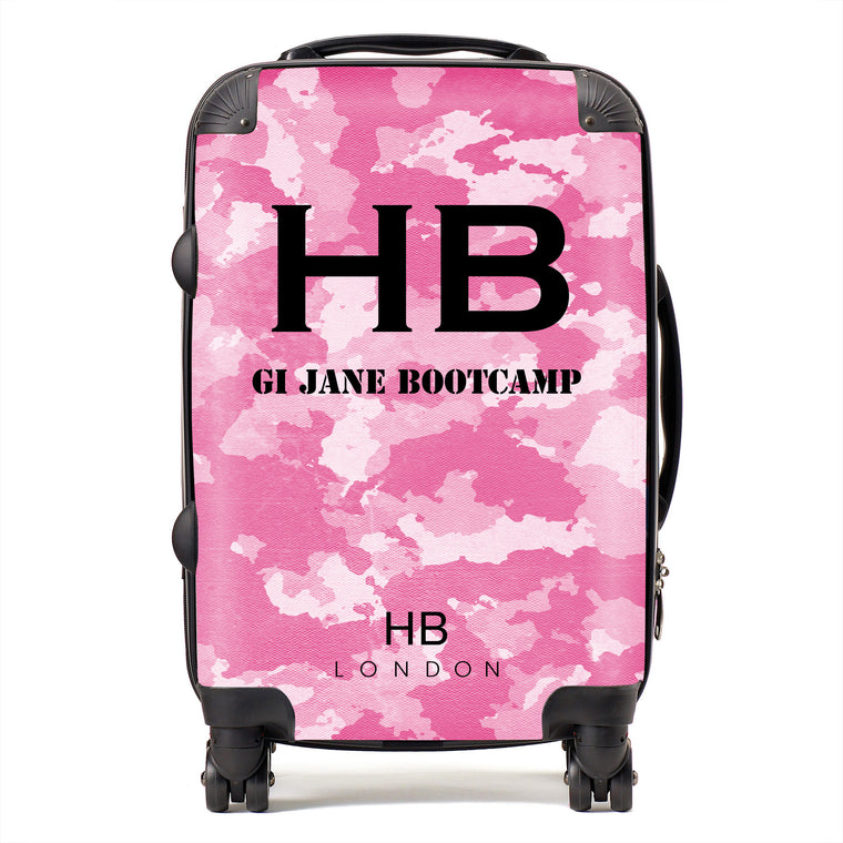 Personalised GI Jane Bootcamp Pink Camouflage with Black Font Initial Suitcase