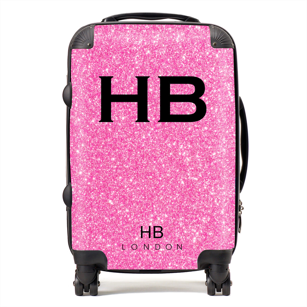 Personalised Pink Glitter Effect with Black Font Initial Suitcase