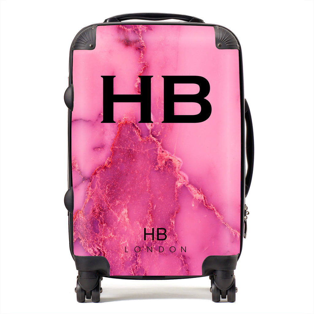 Personalised Pink Natural Marble with Black Font Initial Suitcase
