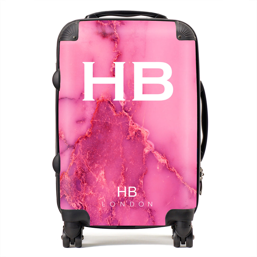 Personalised Pink Natural Marble with White Font Initial Suitcase