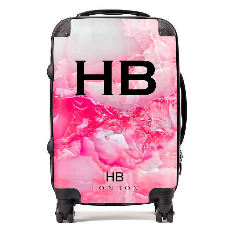 Personalised Hot Pink Onyx Initial Suitcase
