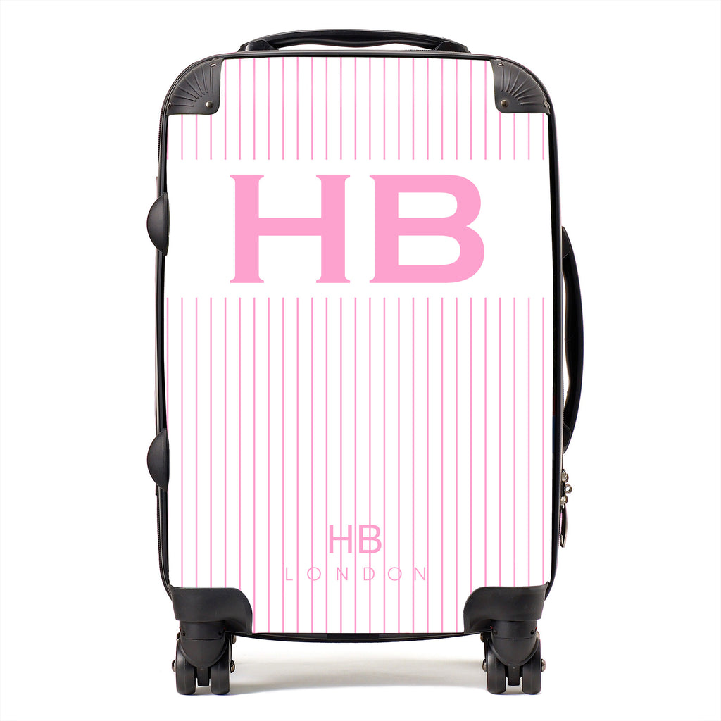 Personalised White and Pink Pinstripe with Pink Font Initial Suitcase