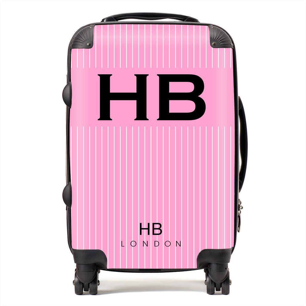 Personalised Pink Pinstripe with Black Font Initial Suitcase