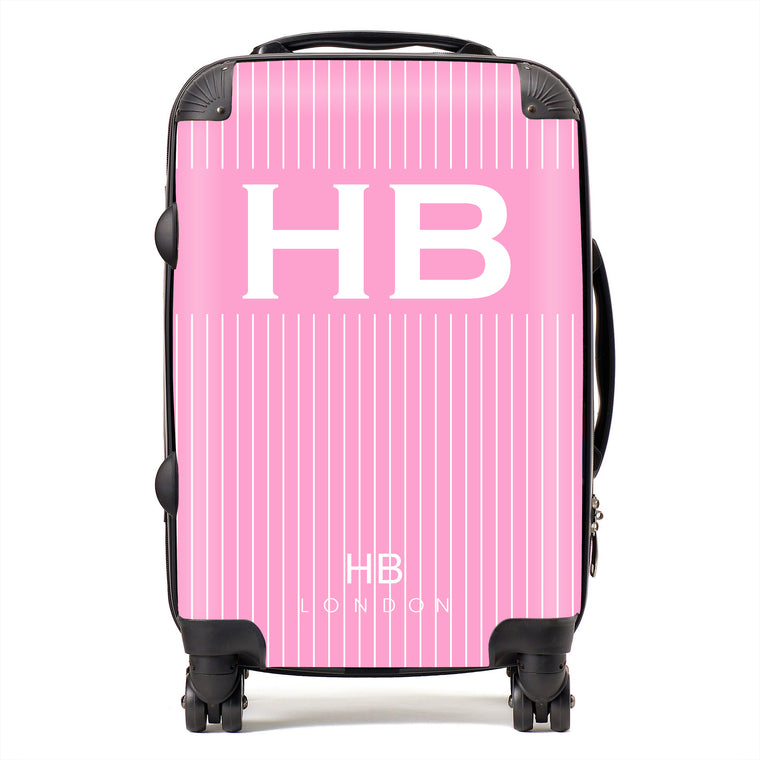 Personalised Pink Pinstripe with White Font Initial Suitcase