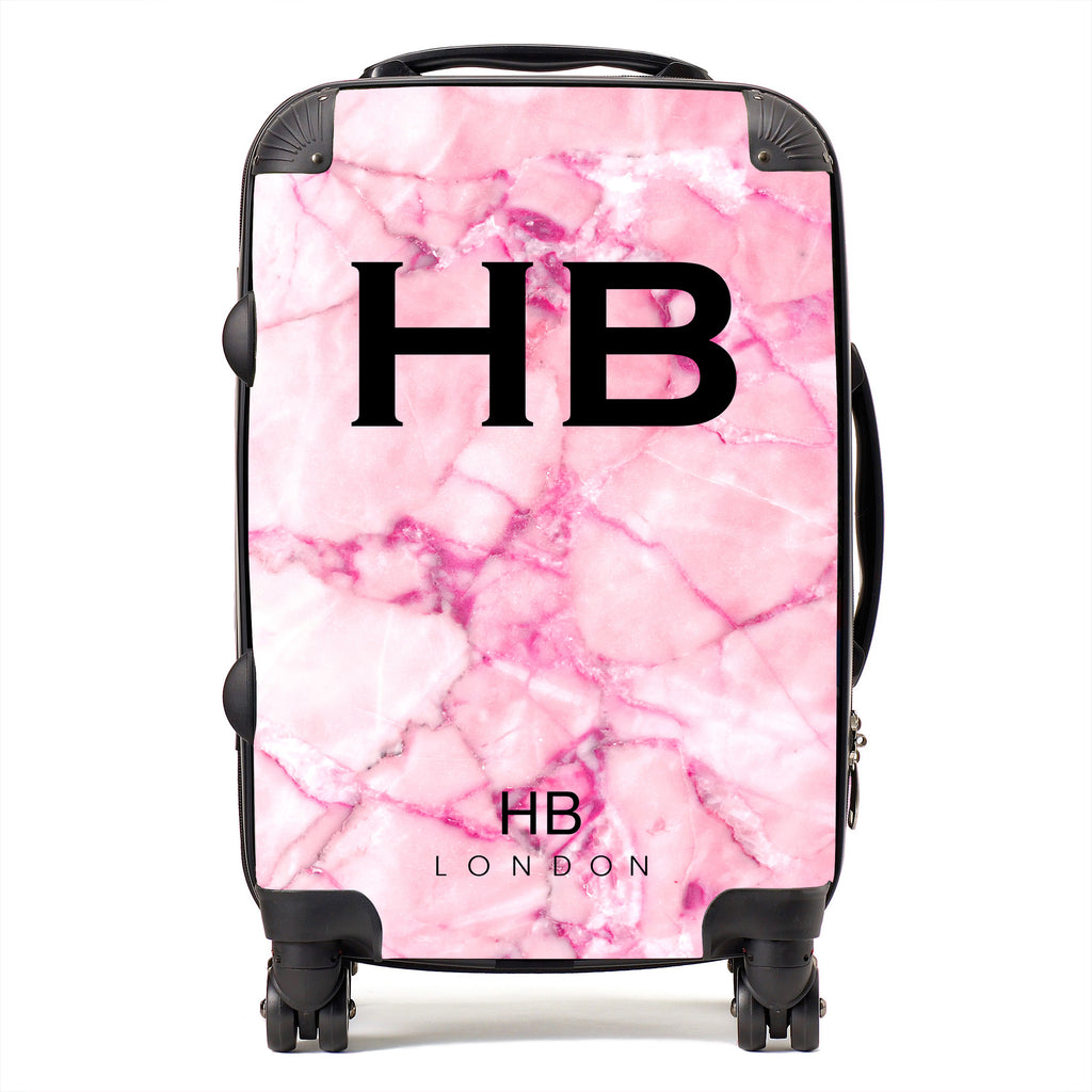 Personalised Pink Shattered Marble Initial Suitcase