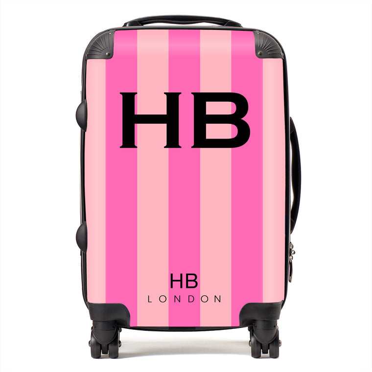 Personalised Pink Stripe with Black Font Initial Suitcase