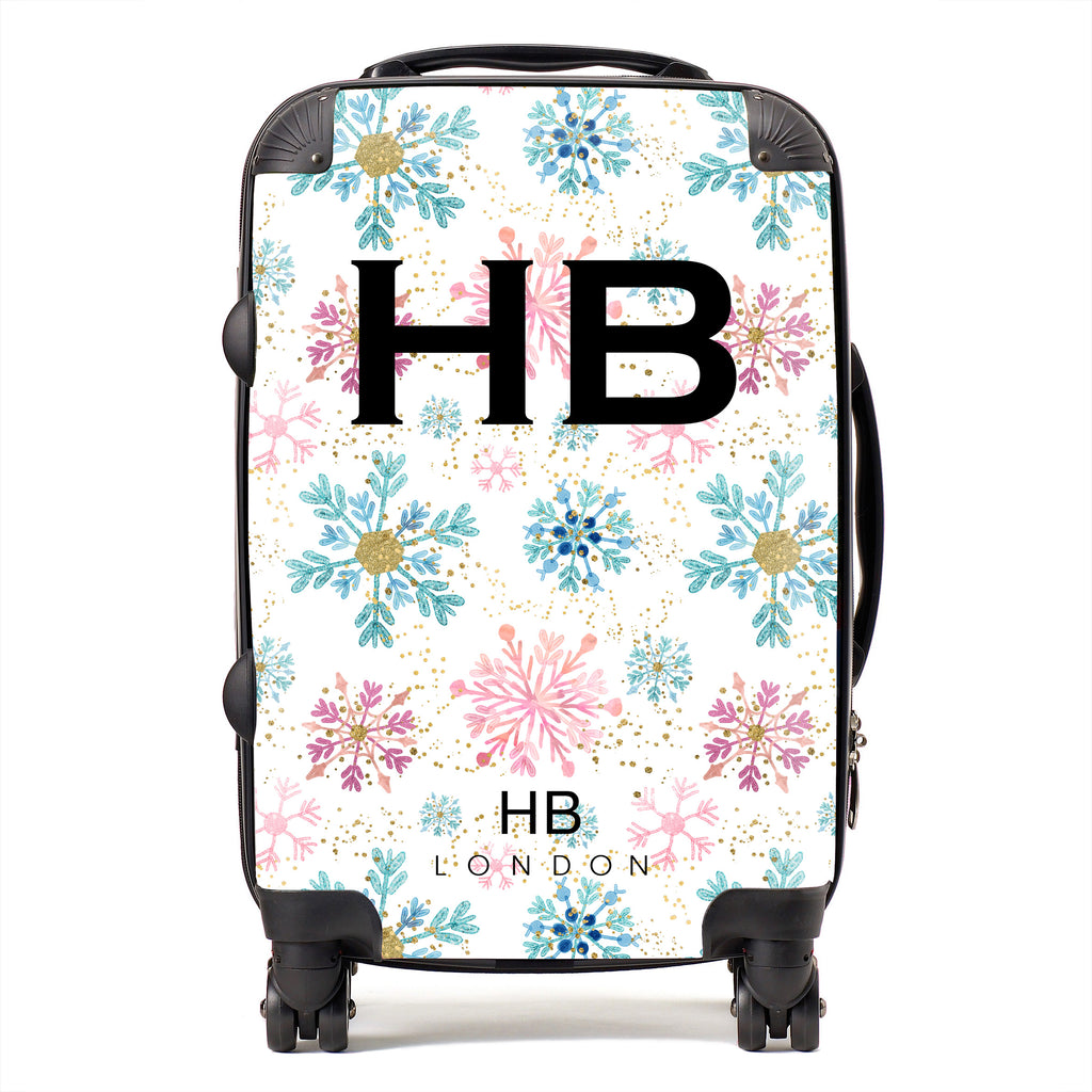 Personalised Pink and Blue Snowflake with Black Font Initial Suitcase