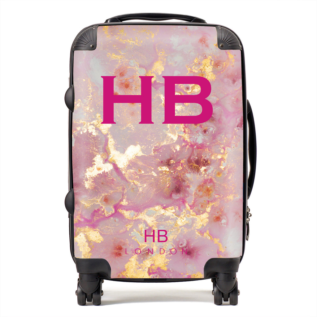 Personalised Pink and Gold Marble with Pink Font Initial Suitcase
