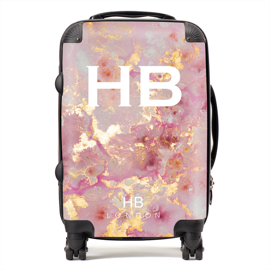 Personalised Pink and Gold Marble with White Font Initial Suitcase